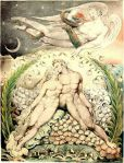 William Blake (1757-1827), Satan Watching the Caresses of Adam and Eve' (Illustration to Paradise Lost), 1808, pen; watercolor on paper, 50.5 × 38 cm, Museum of Fine Arts, Boston, US
